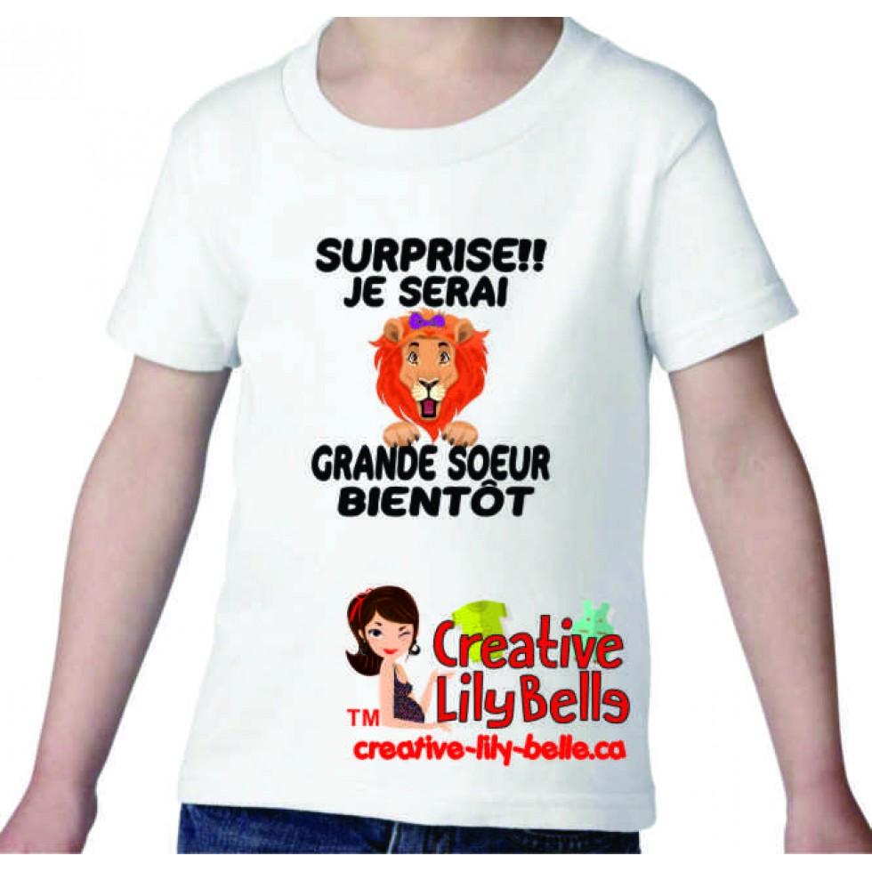 T Shirt Cache Couche Future Grande Soeur Lion 3336