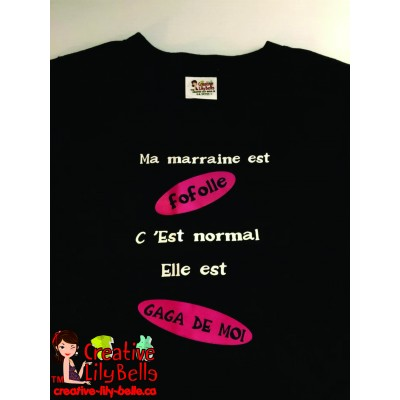 LOT#24 T-SHIRT NOIR 5 ANS GAGA MARRAINE (to be translated)