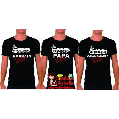 t-shirt officiellement papa, parrain,papy etc 4113