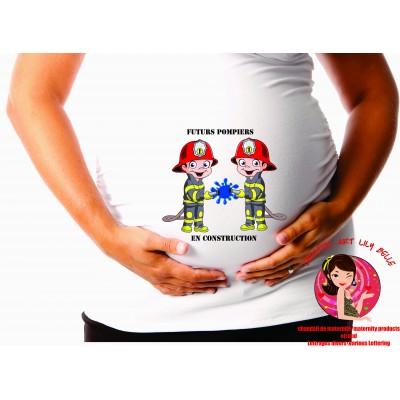 chandail de maternité pompier jumeaux cm204